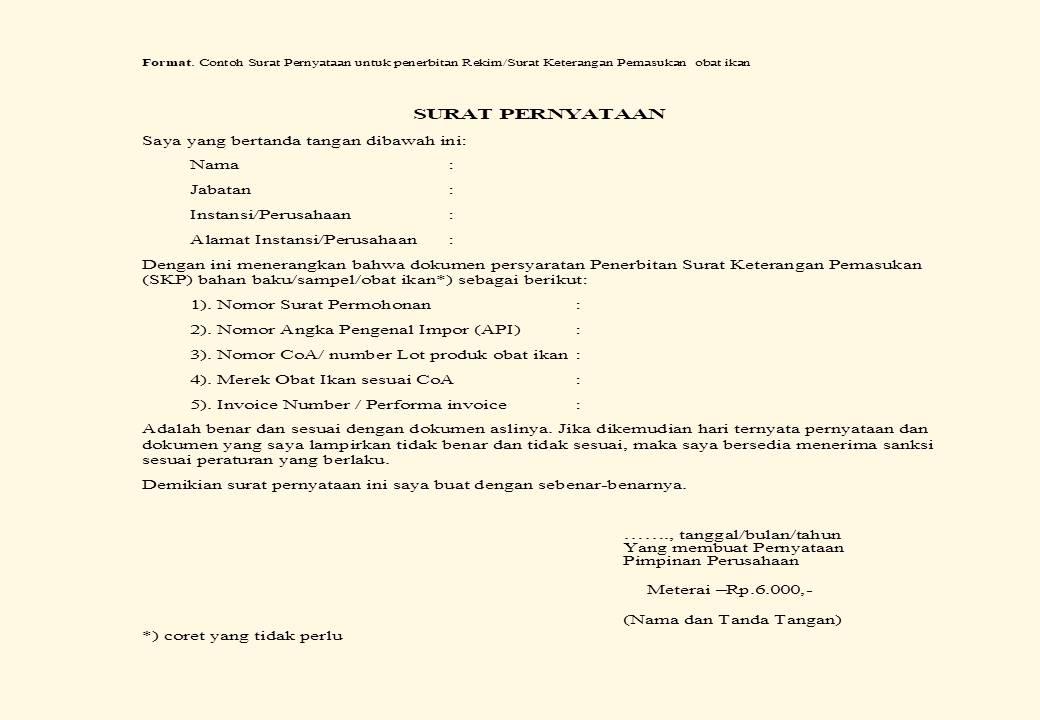 Formata Contoh Surat Pernyataan REKIM-SKP Obat Ikan